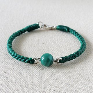Sterling Silver **fashion lucky pray malachite silk wax line bracelet*2*[hibiscus]** Lucky Oh