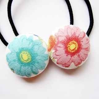 Hand-made cloth buttons tress hair ring blue pink flowers