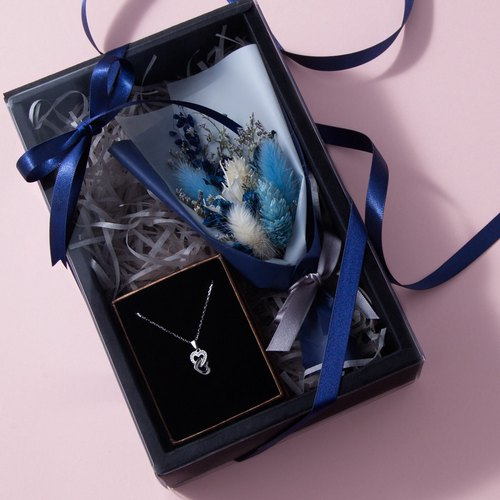 Light blue bouquet temperament silver necklace gift box