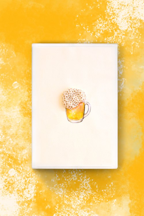 Stone Art Take a drink! Drink a miniature ocean! Beer painting