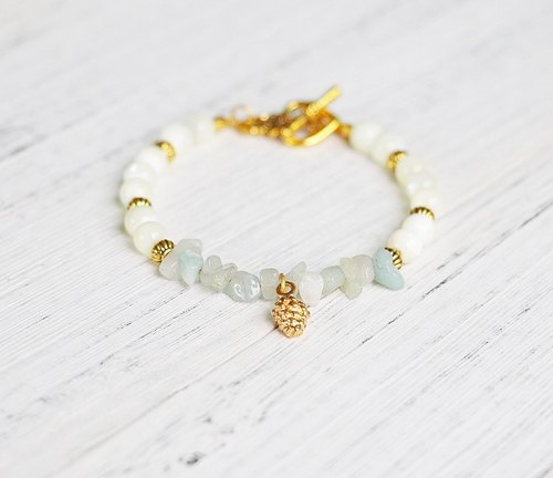 [Blue Ocean Kingdom] Shell x Amazon tianhe stone rubble bracelet FitterHandmade natural stone hand-made minimalist geometry personalized Christmas Valentine's Day gift anniversary exchange gifts