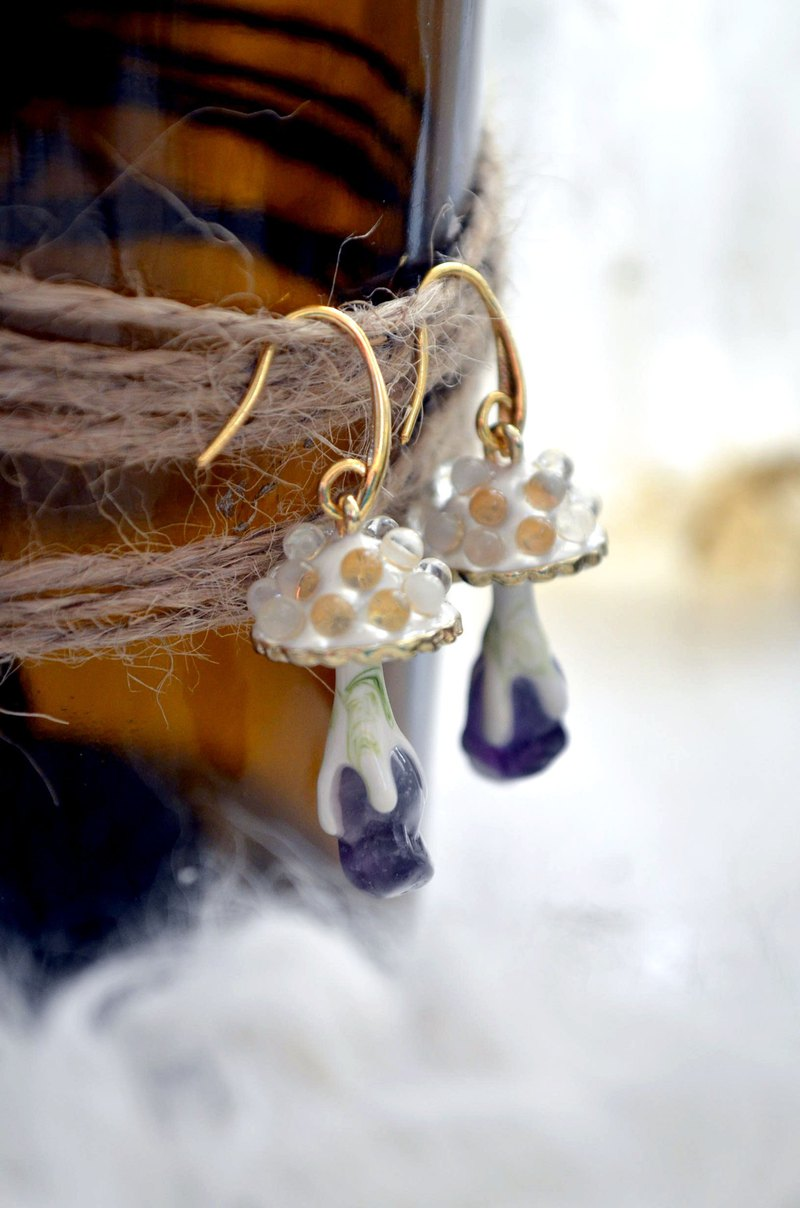 White Gookaso Mushrooms Amethyst Magic Stone Earrings Amethyst Turquoise Green Ghost