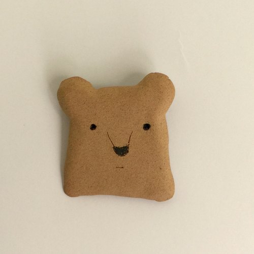 Tao series block - the polar bear pin brooch Pottery 01