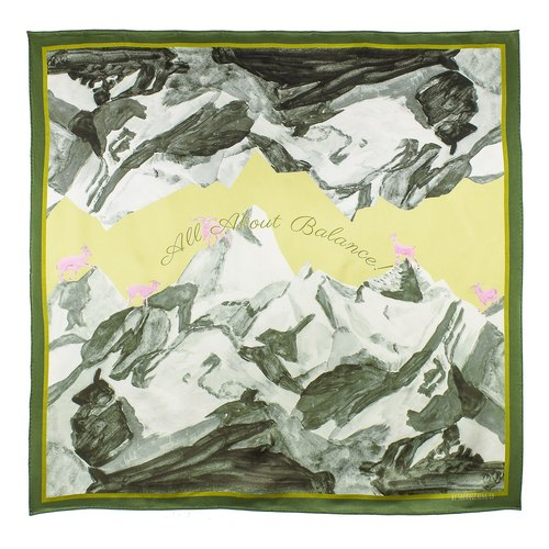 Double Cheng Ji All About Balance Snow Mountain Rock Sheep Print Silk Satin Large Square Towel Green