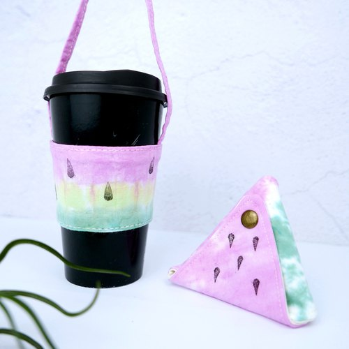 Xmas gifts package Handmade Tie dye Triangular Coin Case + Reusable Coffee Slee