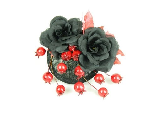 Fascinator Headpiece with Black Silk Flower Roses, Red Berries and Leaves, Statement Gothic Cocktail Party Hat, Occasion Fashion Headwear