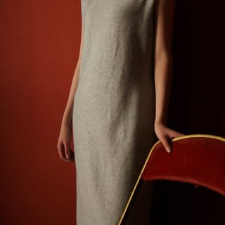High-necked cashmere vest dress Slim