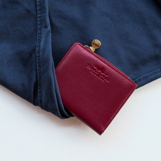 PEONY - SMALL LEATHER SHORT WALLET WITH COIN PURSE- DEEP RED