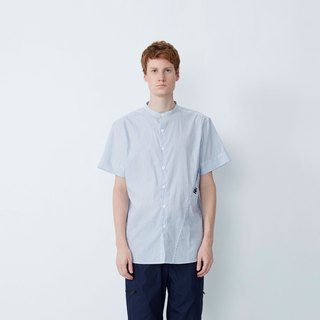 Do not want to work - oblique pocket anti-flash short-sleeved shirt - blue and white