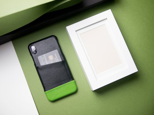 Alto iPhone X Metro Leather Case – Raven/Lime