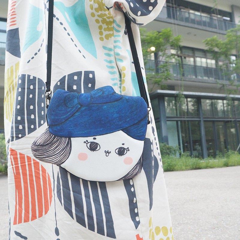 藍色貝雷帽包子小姐旅行小挎包小物包手提肩背可愛包