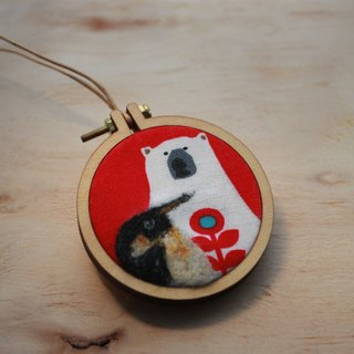 Penguin and Polar Bear Wool Felt Two Way Pendant / Brooch