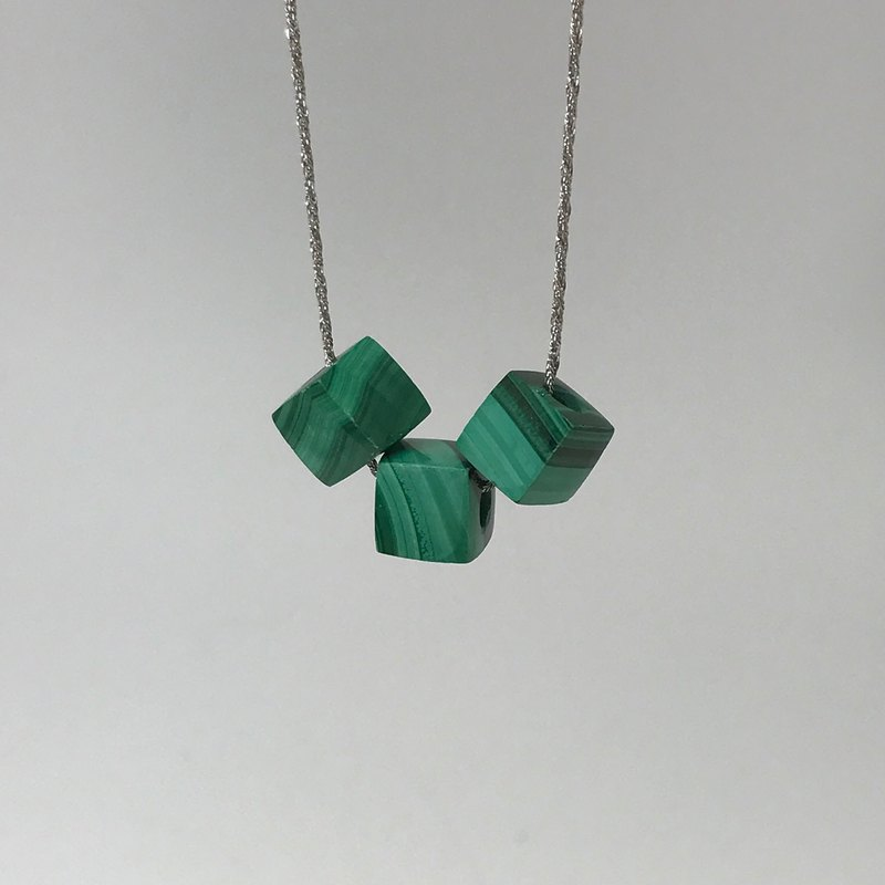925 Silver Malachite Necklace Gemstone Cube Beads Precious Stones Pendant