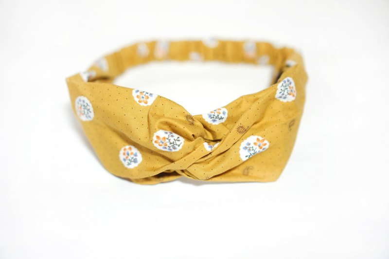 Mustard yellow circle flower / handmade elastic hair band