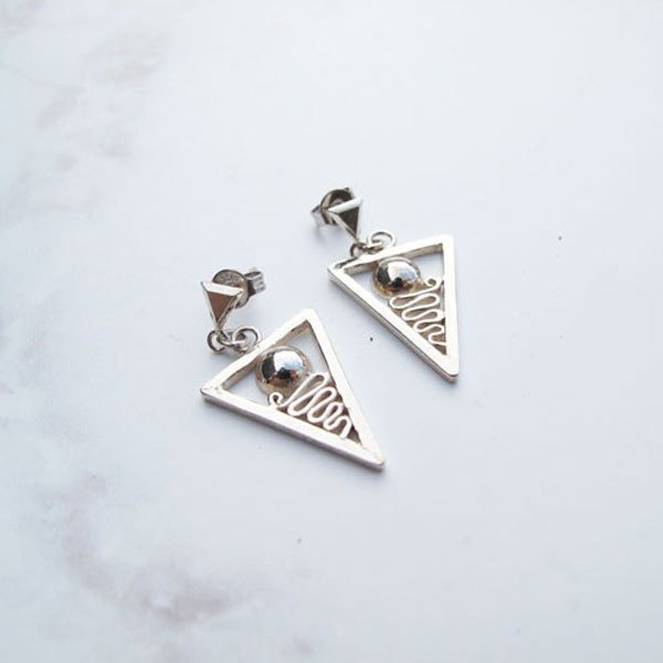 Big staff Taipa [handmade silver] personality × inverted triangle sterling silver earrings
