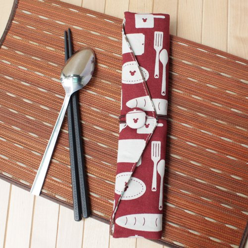 adoubao-chopsticks set cutlery package - dark red & cutlery
