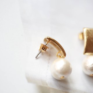 Metal brushed matte cotton pearl earrings │ cotton pearl needle Christmas gift