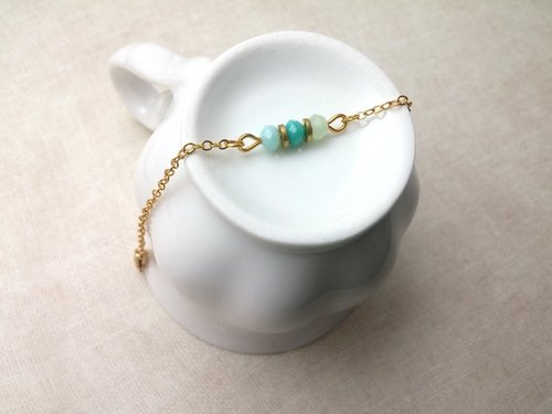 ♥ HY ♥ x bracelet hand-made crystal glass thin brass chain bracelet