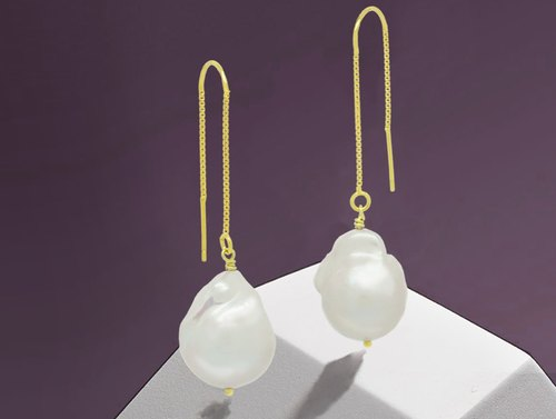 Edith & Jaz • Baroque Pearl 14K Gold Plated Silver Earrings