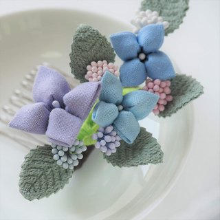 Classy Blue and Purple Hydrangea Hair Comb Wedding Jewelry