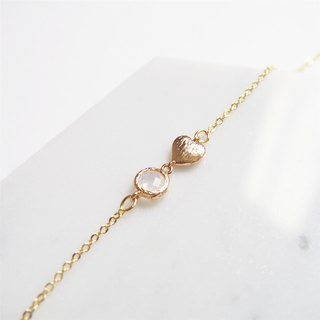 Girl Heart Launch/Gold Plated Edge Glass Imitation Gemstone/Gold Heart Bracelet (Protein Color)
