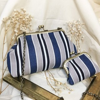 Parent-child welfare bag - hand-made bronze mouth gold purse group denim gradient stripes
