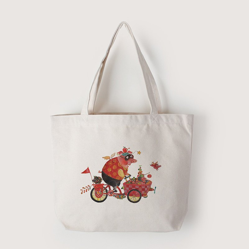 Tote bag-Pig riding bicycle