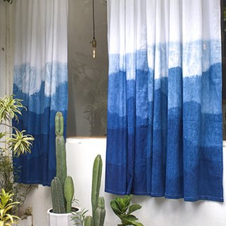 Gradient blue dyed custom handmade linen curtain / original design / natural grass dye / custom / finished curtain
