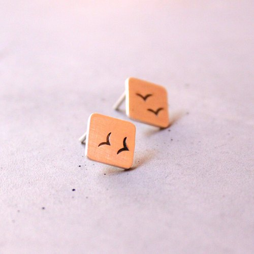 Ear studs with birds, sterling silver square post earrings