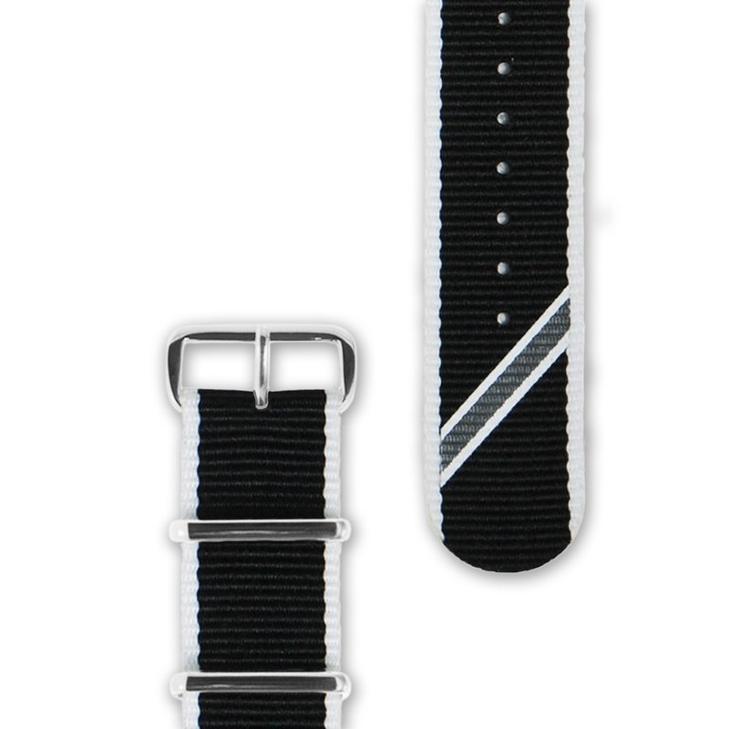 HYPERGRAND military strap - 20mm - black and white twill (silver buckle)