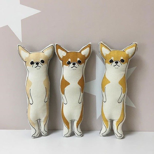 stuffed animal smooth chihuahua (color:Beige) pocket size