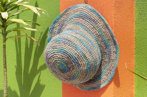 Tanabata gift limited handmade cotton lin / hat / fisherman hat / sun hat / straw hat - tropical rainforest blue sky colorful striped handmade hat