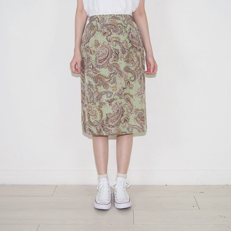 Grass green retro amoeba chiffon ancient high waist skirt BS2006