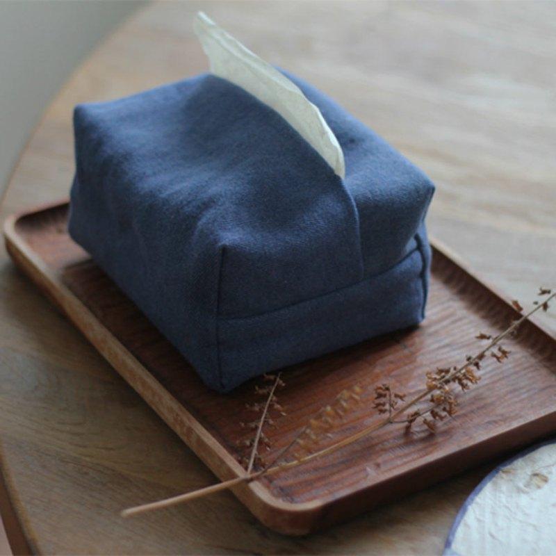 藍色 水洗牛仔 手織布面紙盒 棉麻布藝抽紙盒 紙巾盒紙巾套面紙套