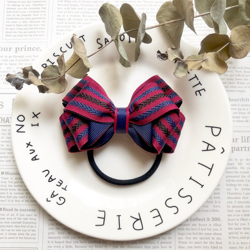 Classic striped solid bow hair bundle / red