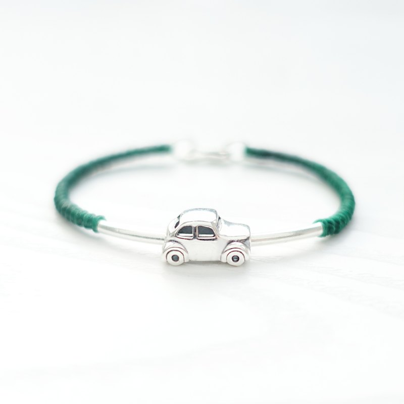 BEETLE - Slim Silver Car Braided Bracelet Anklet