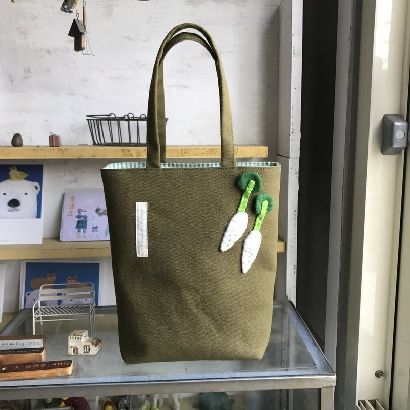 White radish tote bag / dark green bottom