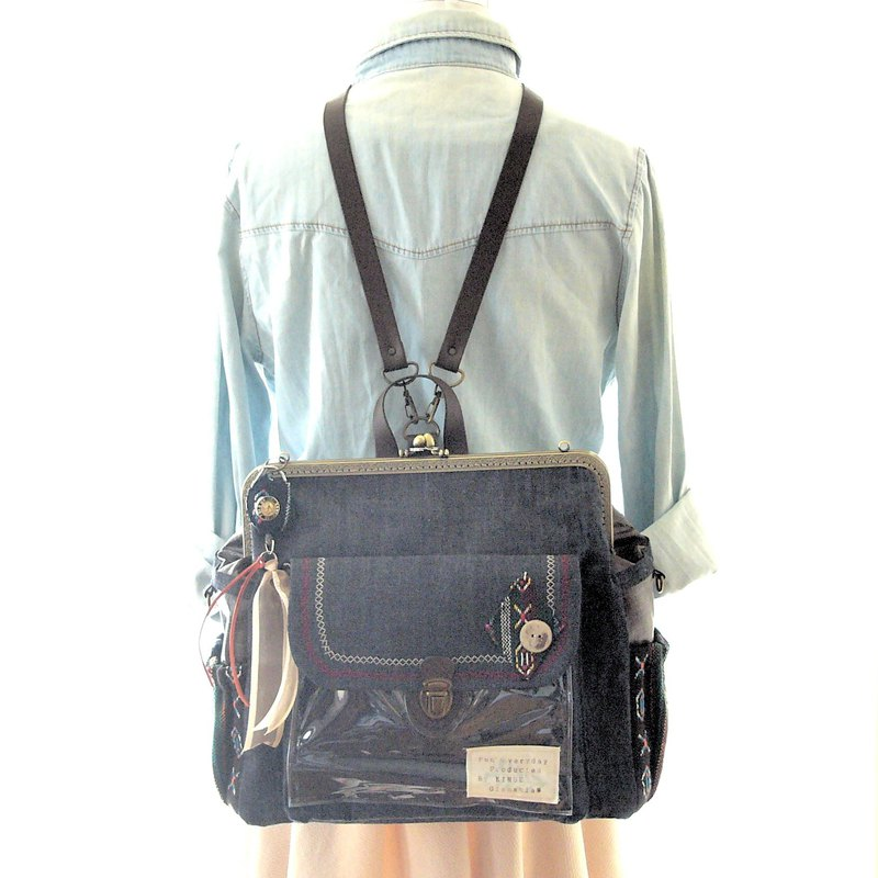 3 WAY back pocket & right zipper attaching BIG backpack full set Denim x Python