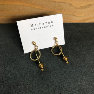 Brass earrings _ geometric pendulum (can be changed)