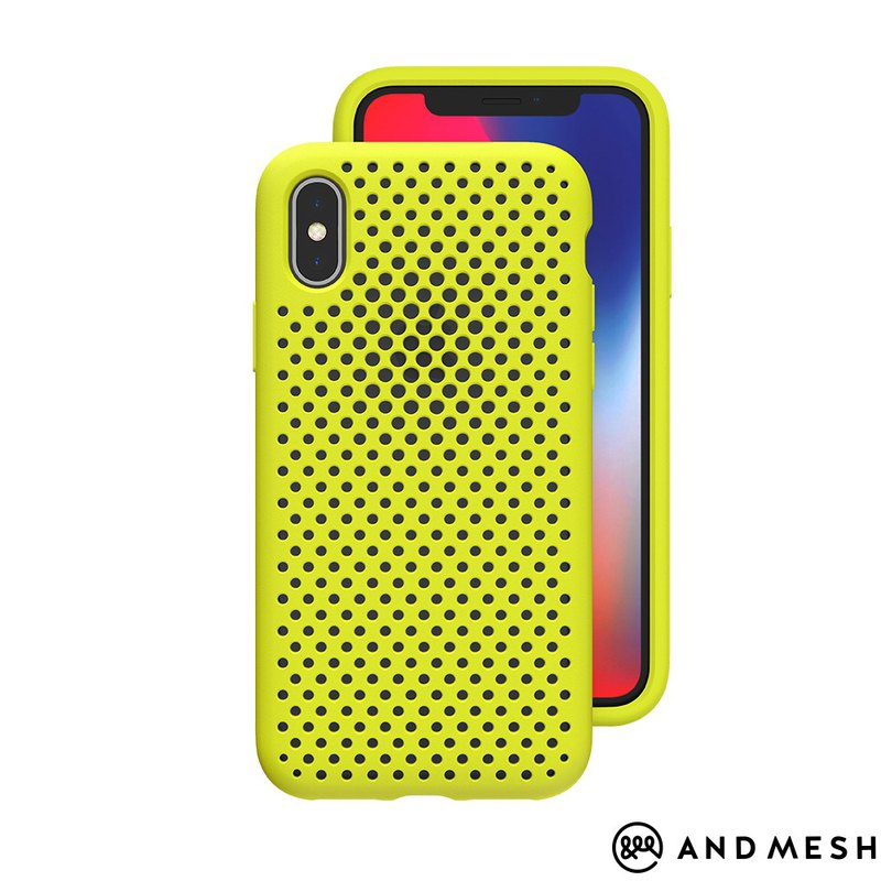 AndMesh-iPhone Xs Max dot soft anti-collision protective cover - lime yellow (4571384959056