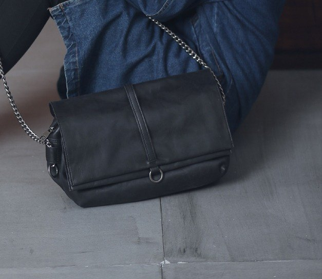 Small Round Straight Chain Multi - Sandwich Leather Side Backpack Dark Gray Black