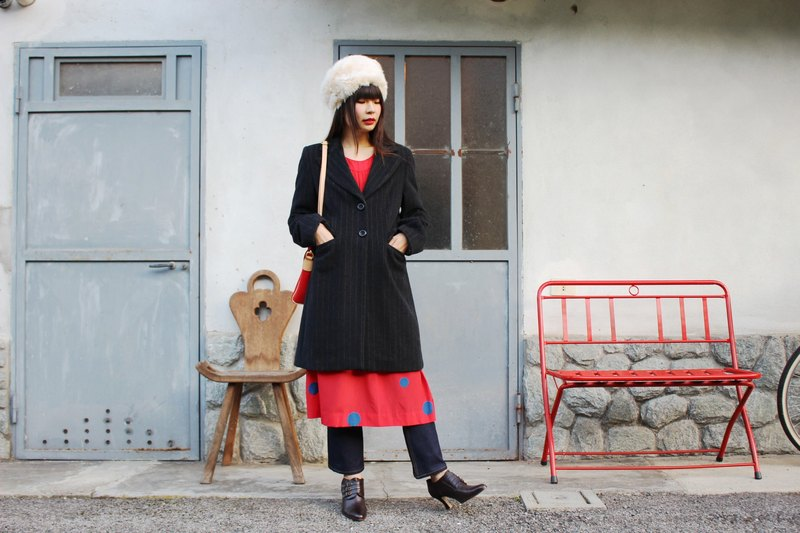 F3027 [Vintage Coat] {Made In Italy} Wool Stripe Coat Made in Italy (Christmas Gift Christmas Presents)