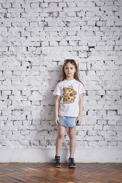 British Fashion Brand [Baker Street] Skull and Pink Roses Printed T-shirt For Kids
