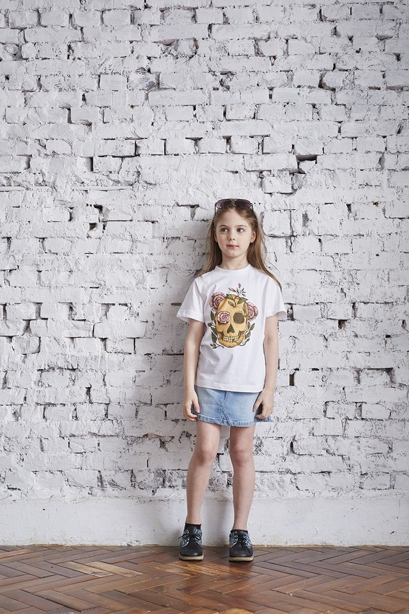 British Fashion Brand-Baker Street-Skull and Pink Roses Printed T-shirt For Kids