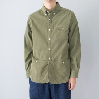 Japanese with autumn and winter skin soft corduroy pocket shirt shirt