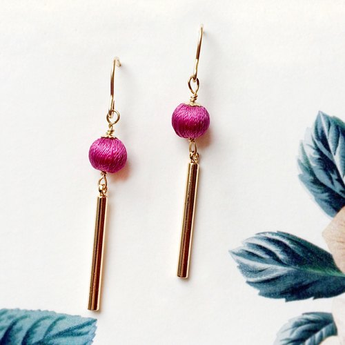 Purple , Stereo embroidery earrings, 14k gold chain, PinkoiENcontent