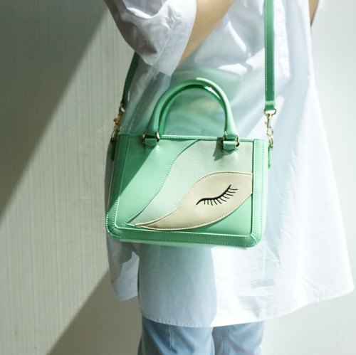 Kanali Light Green Lacquered Italian Leather Tote / Cross Body Bag