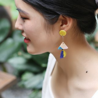 Geometric color tassel ceramic earrings ear clip sterling silver
