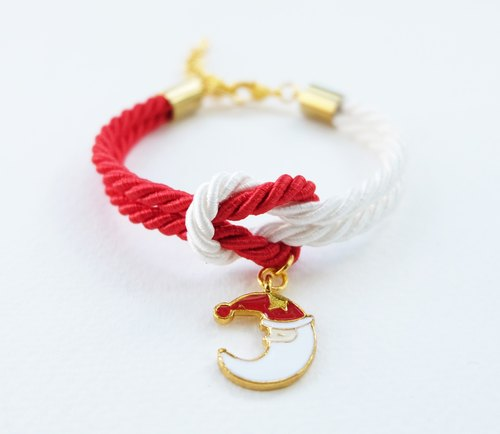 Christmas gift collection , Red/White knot rope bracelet with Santa Cluas moon charm