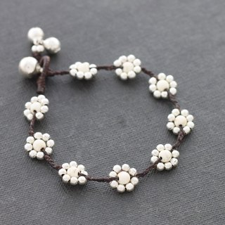 White Turquoise Flower Bracelets Daisy Woven Braided Stone Cute Silver
